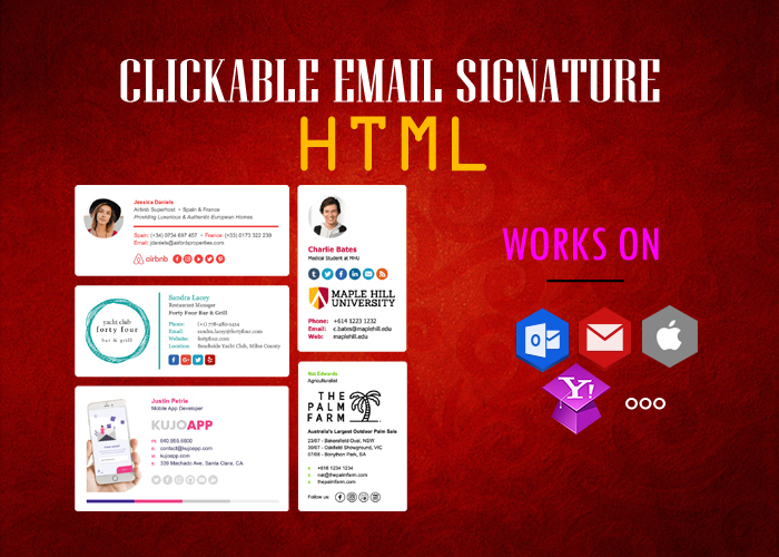 create clickable HTML email signature for iphone,  outlook and gmail