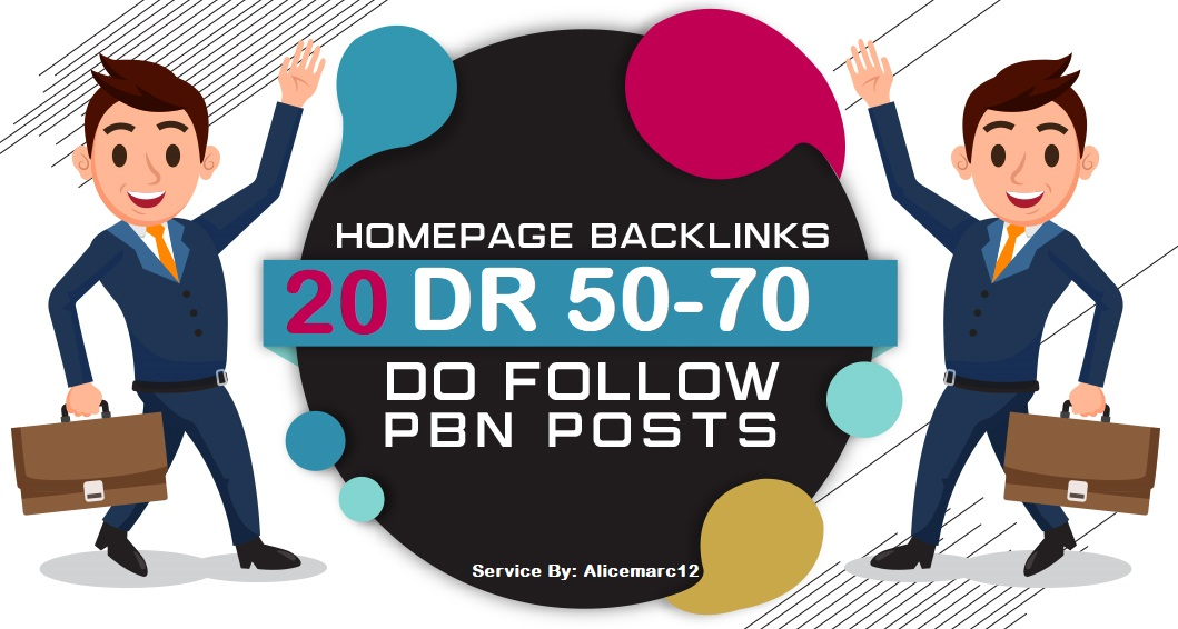 Homepage backlink 20 DR 50-70 Dofollow PBNs High Quality Links