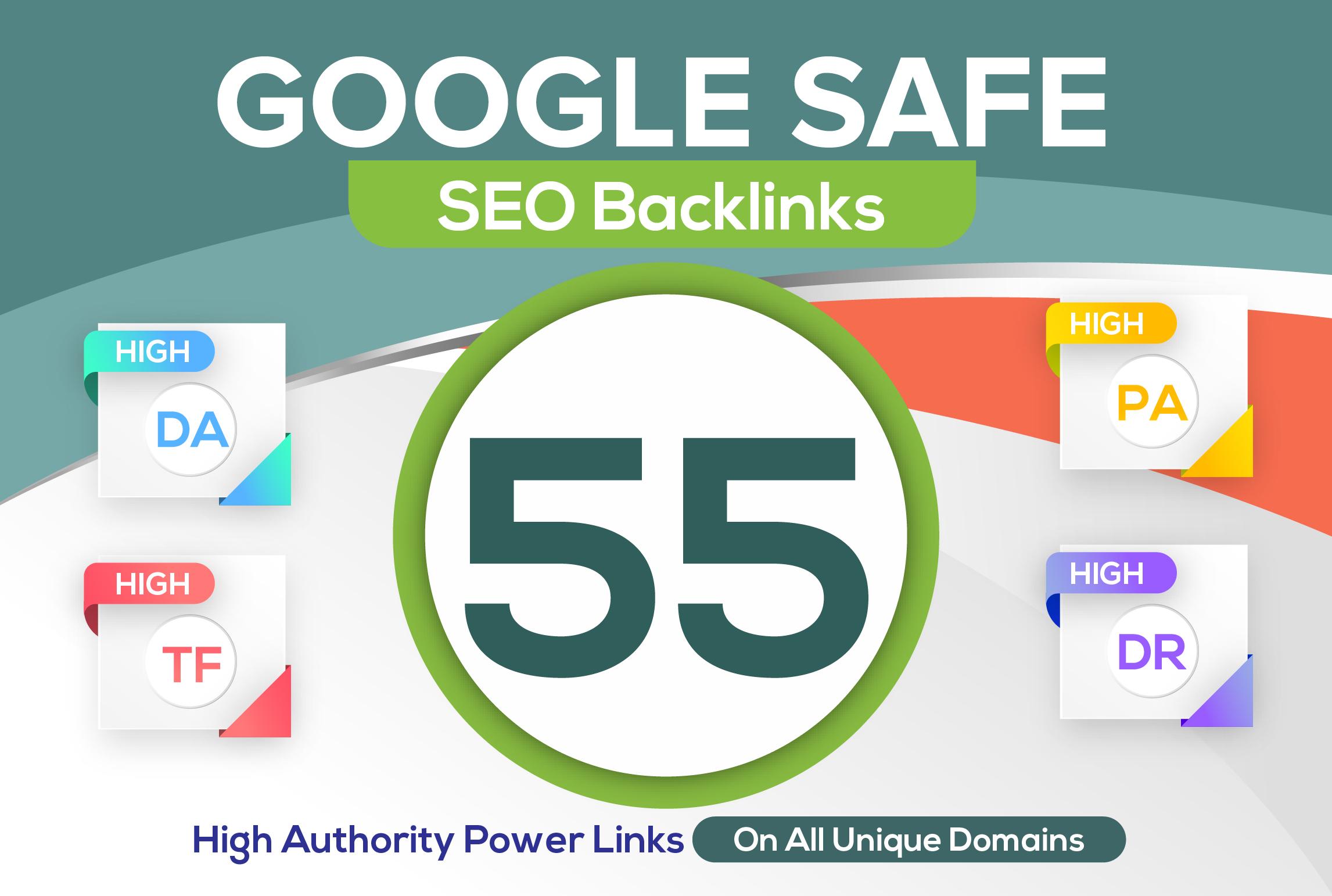 build 55 unique domain SEO backlinks on tf100 da100 sites