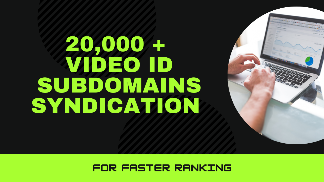 20,000 Video ID subdomains Syndication for faster ranking