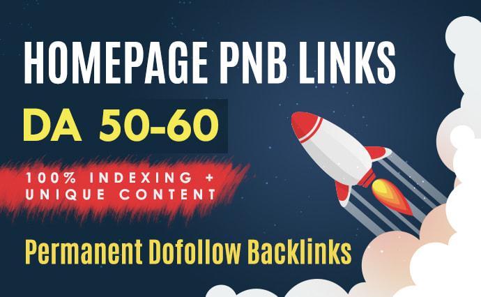 5 Homepage DA50 to 60 plus PBN dofollow backlinks