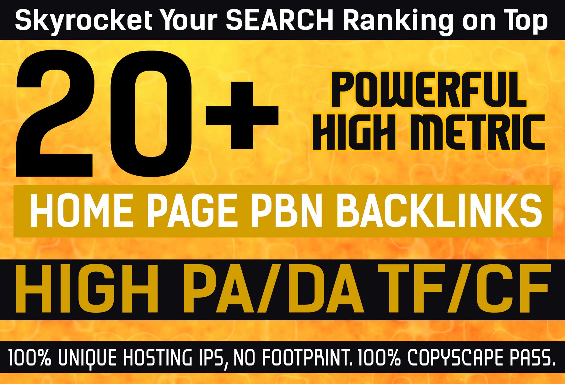 I will create 20 Extreamly powerful homepage pbn backlinks