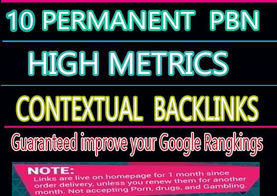 Create manualiy 10 Permanent PBN High Metrics Contextual Backlinks
