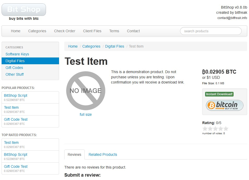 Bitcoin Shopping PHP Script with Admin Panel