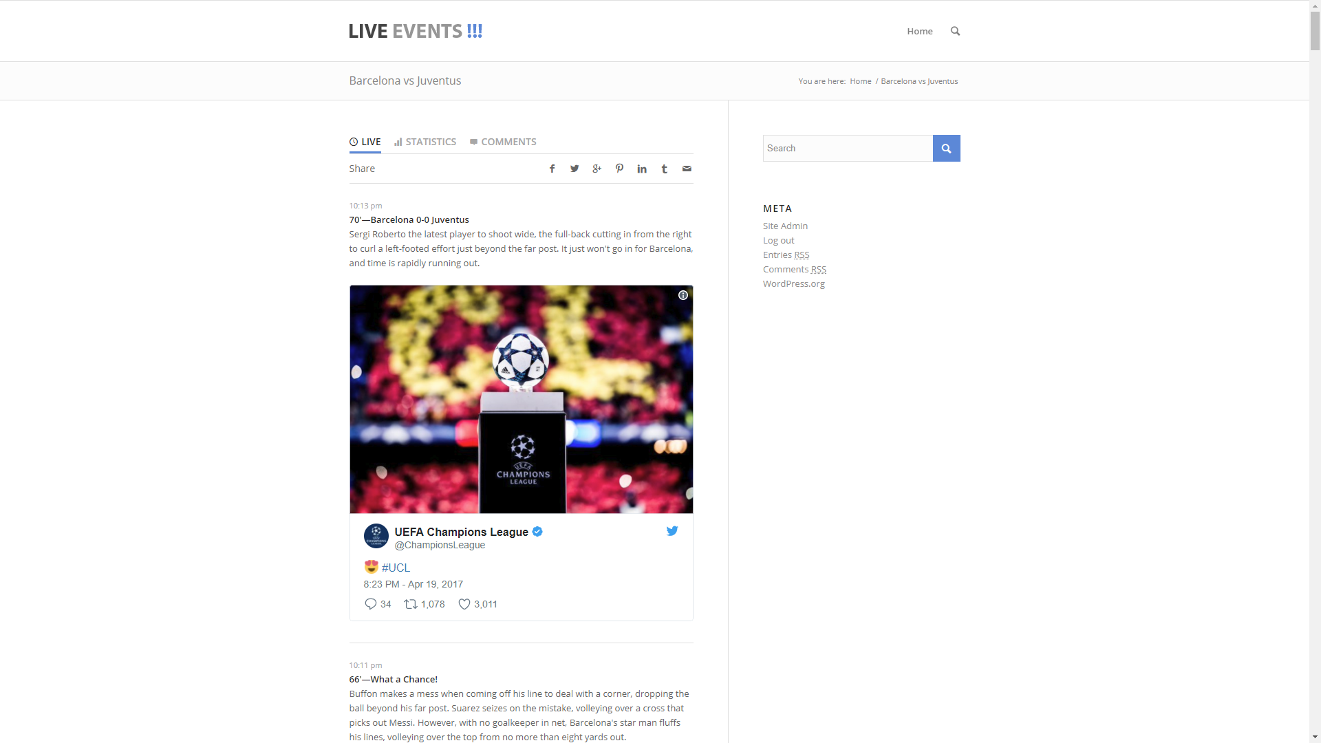 Live Events -The highly sensitive customizable live commentary Wordpress Plugin