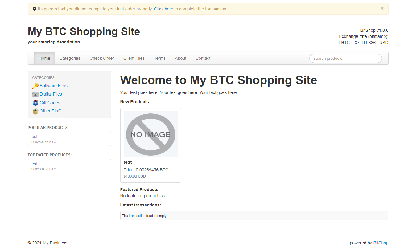 Build your own Bitcoin Shopping Site PHP Script
