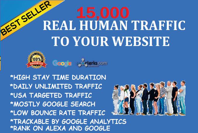 15,000+ Real Humans Visitors/Traffics to your website. Google Adsense/Analytics safe