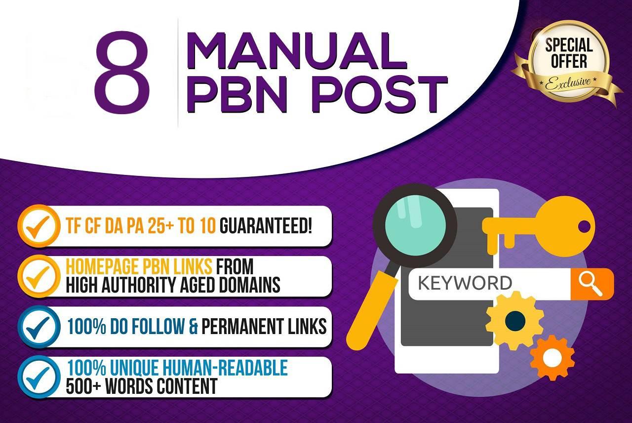 Create 8 High Quality PBN - DA 20+ PA 30+ Dofollow Permanent Home page