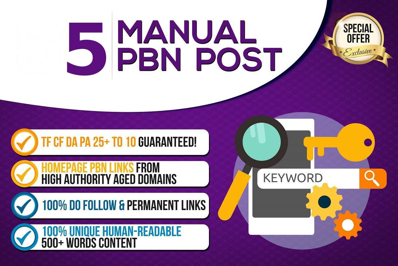 Create 5 High Quality PBN - DA 20+ PA 30+ Dofollow Permanent Home page