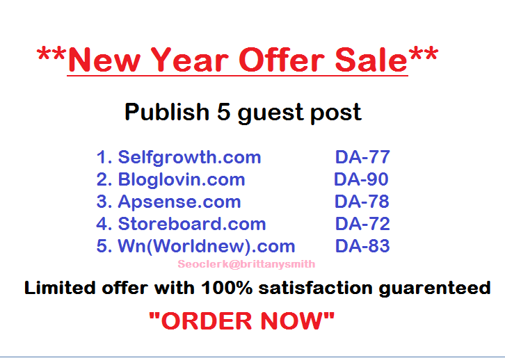 Publish 5 contents on 5 sites Which are DA- 70+ Limited Offer
