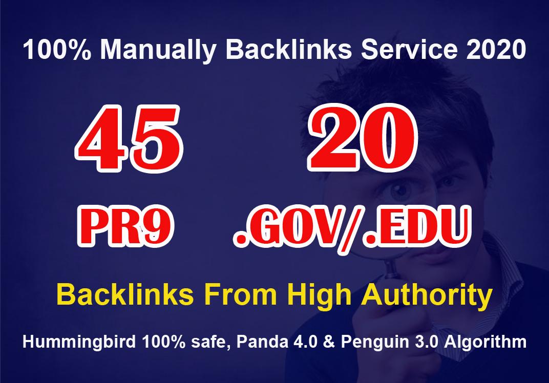80+ DA 45 PR9 + 20 EDU/GOV high PR safe Permanent Backlinks