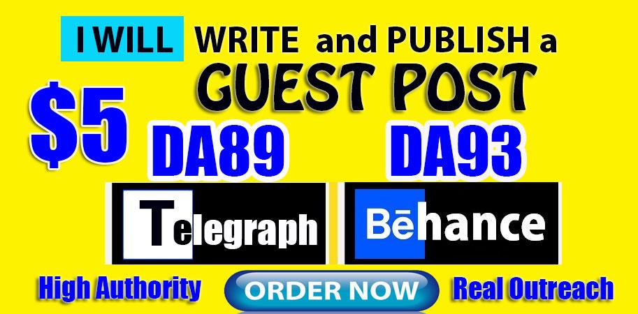 Write and Publish Guest Posts on DA89 Telegraph and DA93 Behance. net