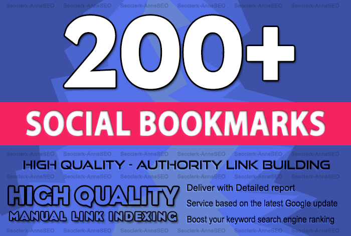 add 200 Social Bookmarking Dofollow Backlinks to your Website