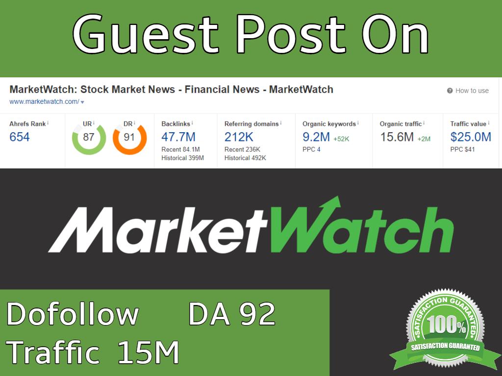I will do Guest post on marketwatch da 92 traffic 15m