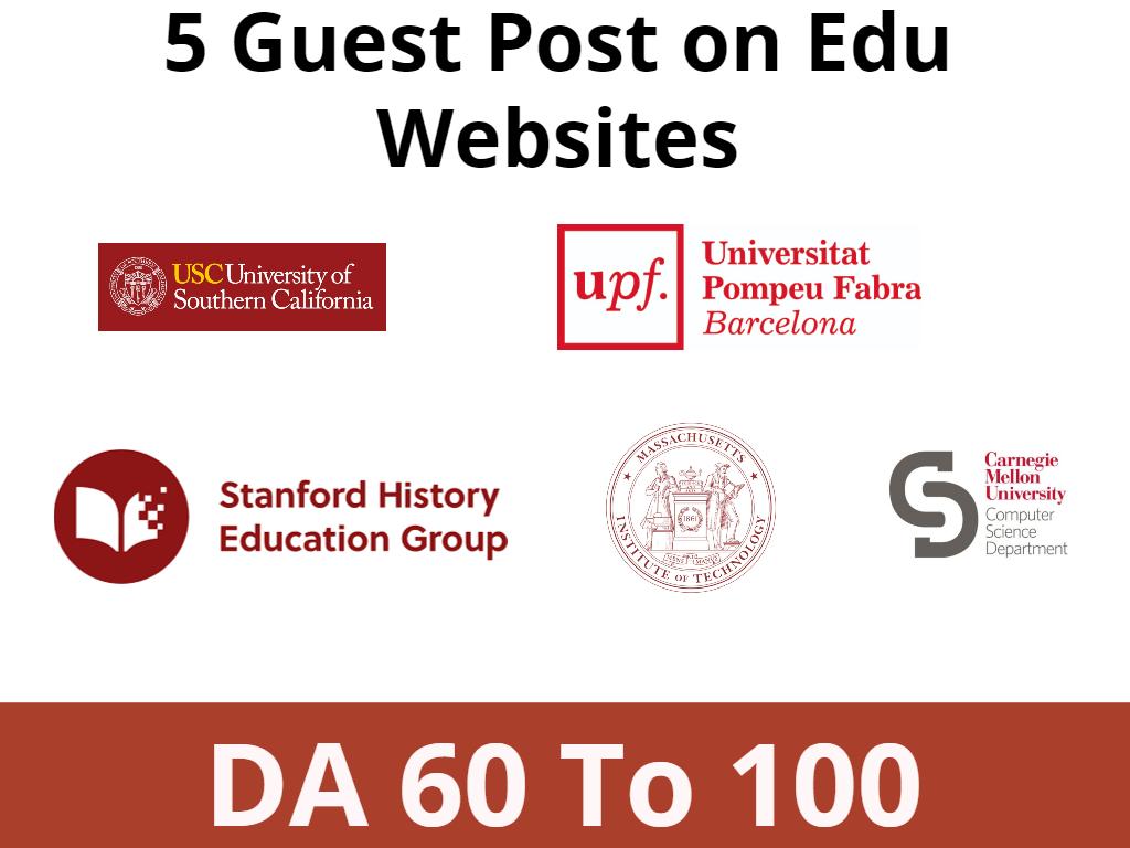 Get 5 Edu guest Post on DA 60 to 100