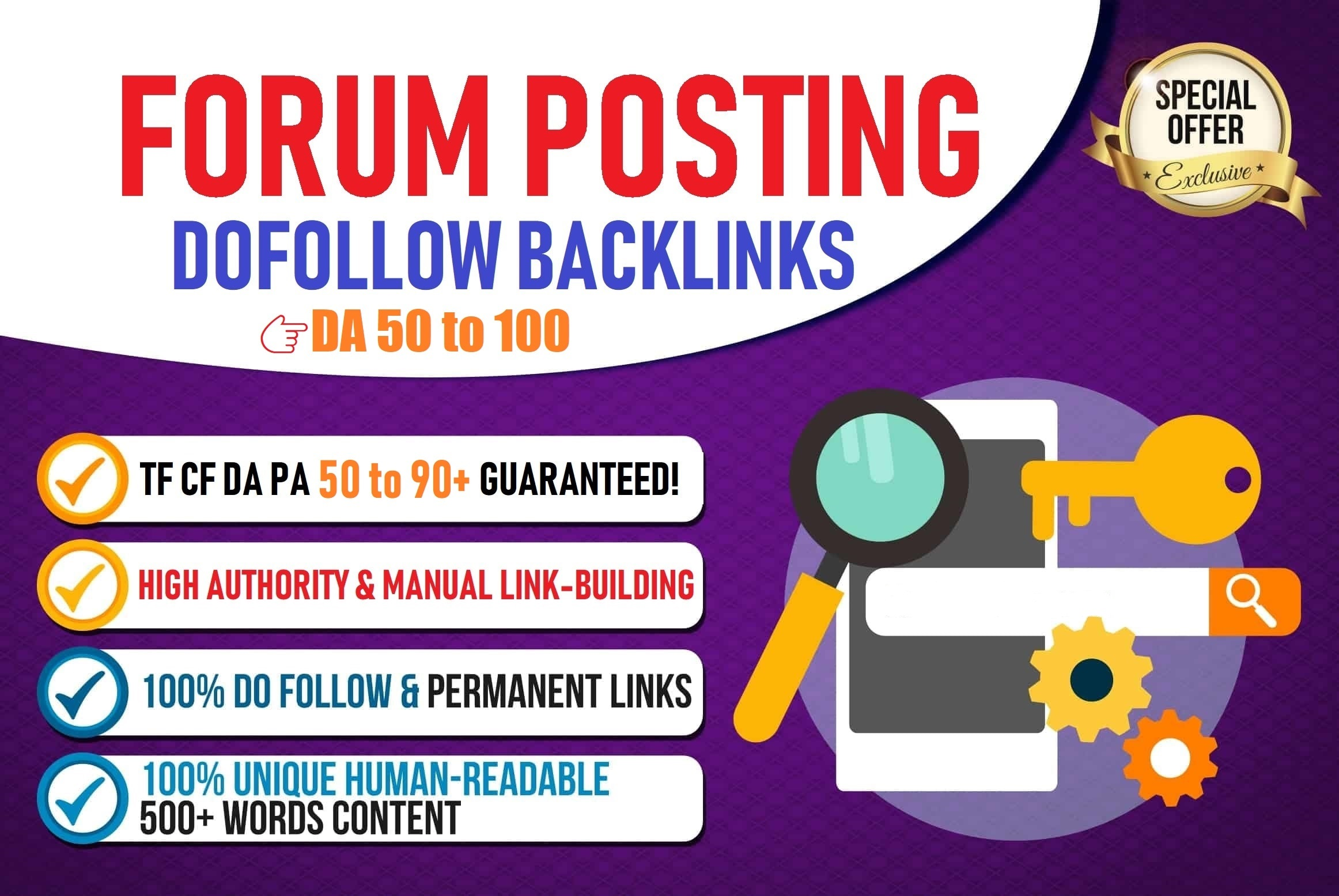 High DA PA 50+ Do follow Forum Backlinks