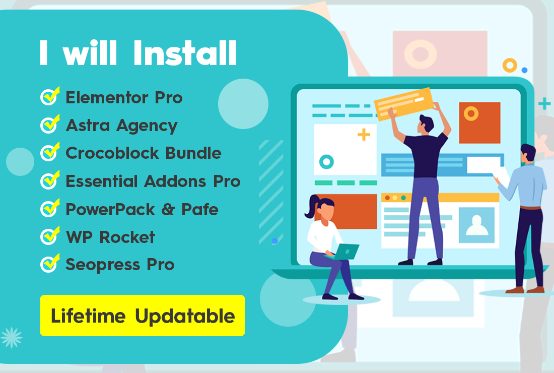 Install Elementor pro and Astra pro and Crocoblock Jet Bundle for lifetime updates