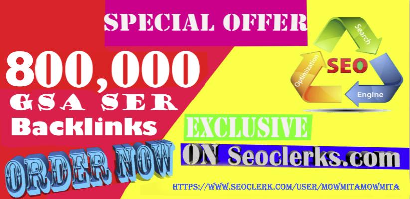 800,000 Gsa Ser Backlinks,  For Ranking Website in Google