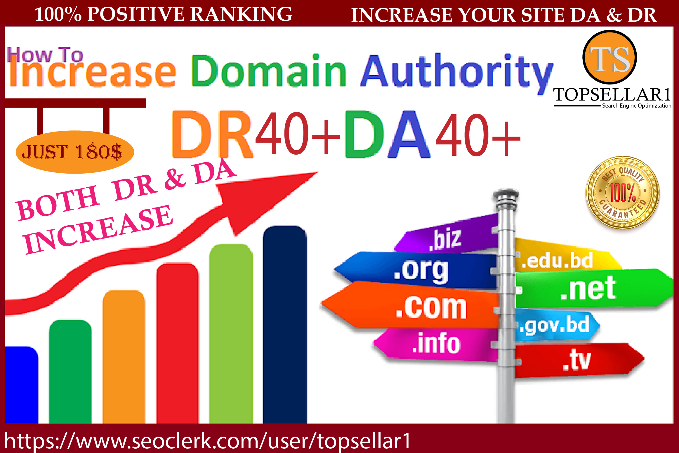 I will Increase Ahrefs DR 50+ And MOZ DA 50+ Guaranteed with quality backlinks