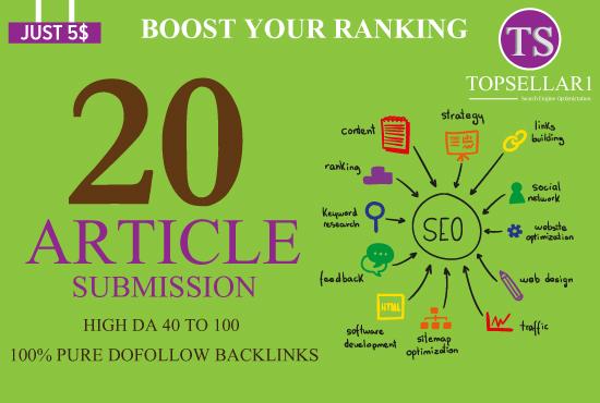 provide 20 unique article submission with da50 plus unique domain backlinks