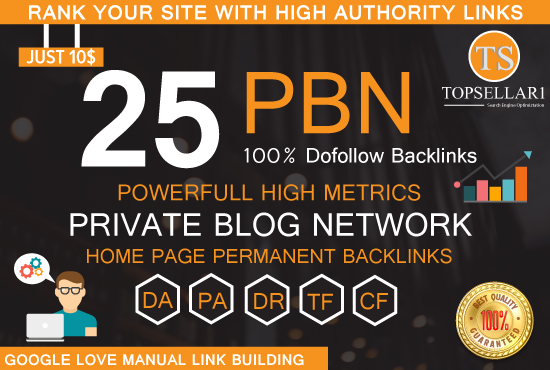 Build 25 PBN Dofollow and high da backlinks with good metric homepage backlinks