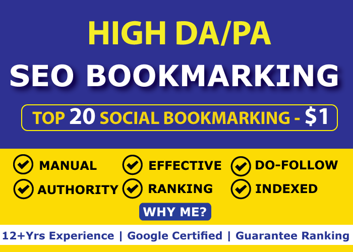 High Authority 20 Social Bookmarking Links within 24 hours
