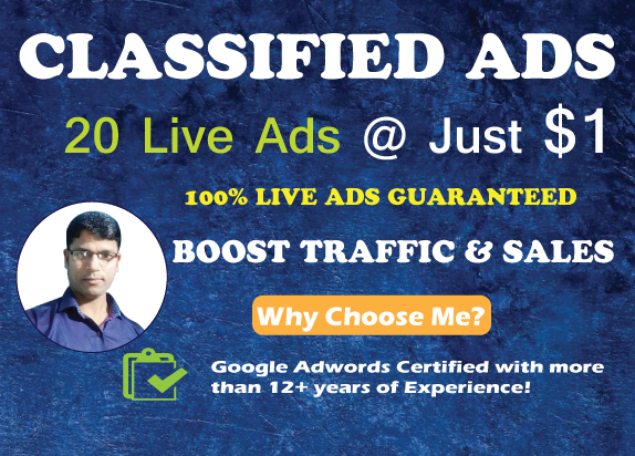 20 High Authority Classified Ads Posting for more traffic & sales