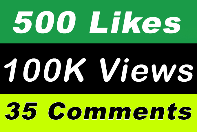 100K Video Views Promotion Or 500 Likes Or 35 Comments for Social media Marketing