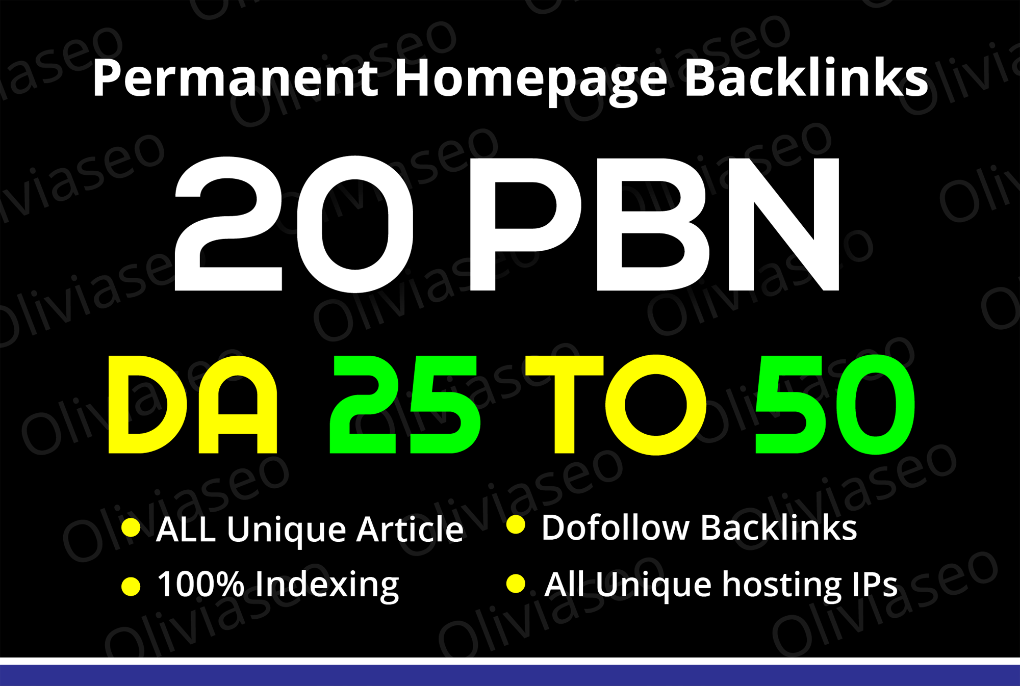 I will build 20 PBN permanent homepage DA 25 TO 50 dofollow backlinks off page seo