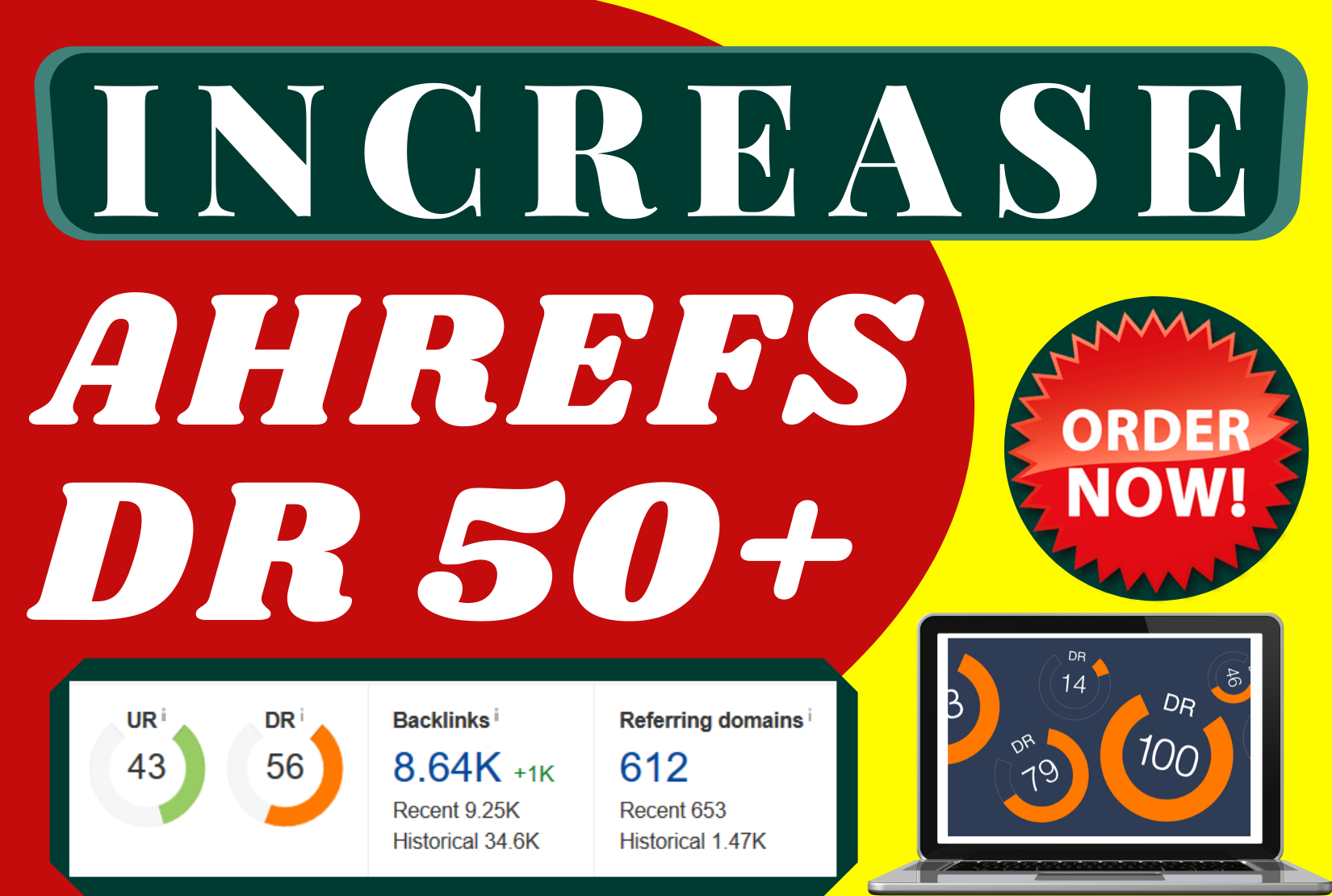 I will Increase your website Ahrefs Domain Rating to 50+