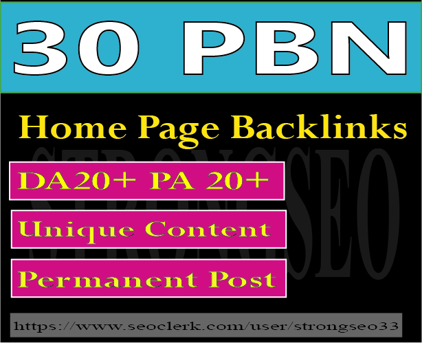30 pbn high quality home page permanent backlinks
