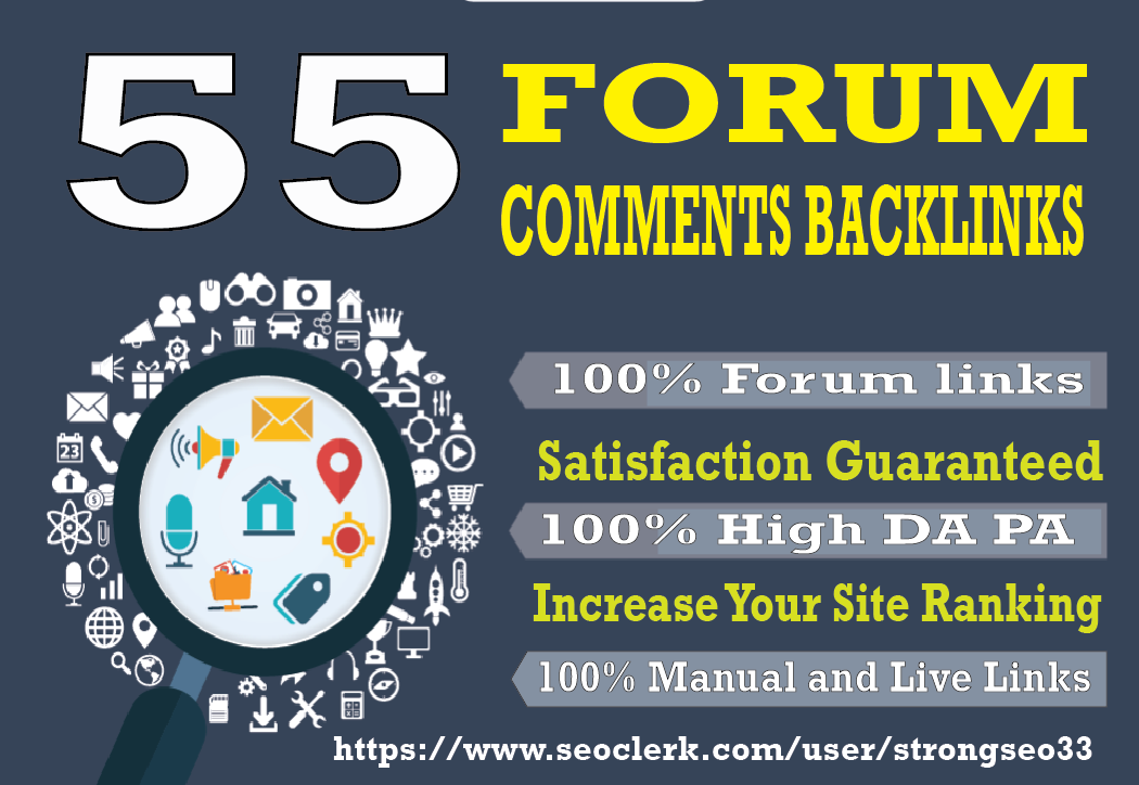 I will provide 55 Forum high quality DA30+ PA25+ Unique Dofollow Blog Comments backlinks