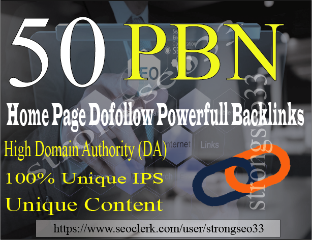 I will provide 50 PBN Dofollow Homepage Backlinks with Unique IPS