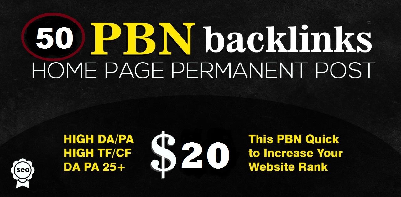 Build High Quality 50 PBNs SEO Backlinks High DA/PA Unique Domains Permanent Post