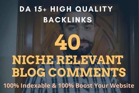 40 Niche Relevant Blog C0mments DA 15+ rank your website quickly