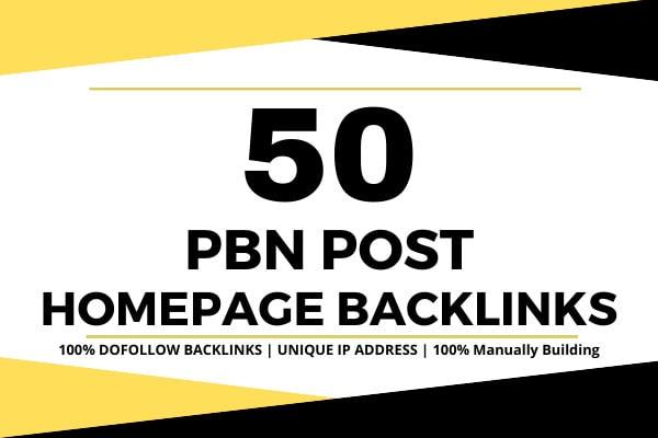 Build 50 Homepage Dofollow Pbn High Quality Seo Backlinks