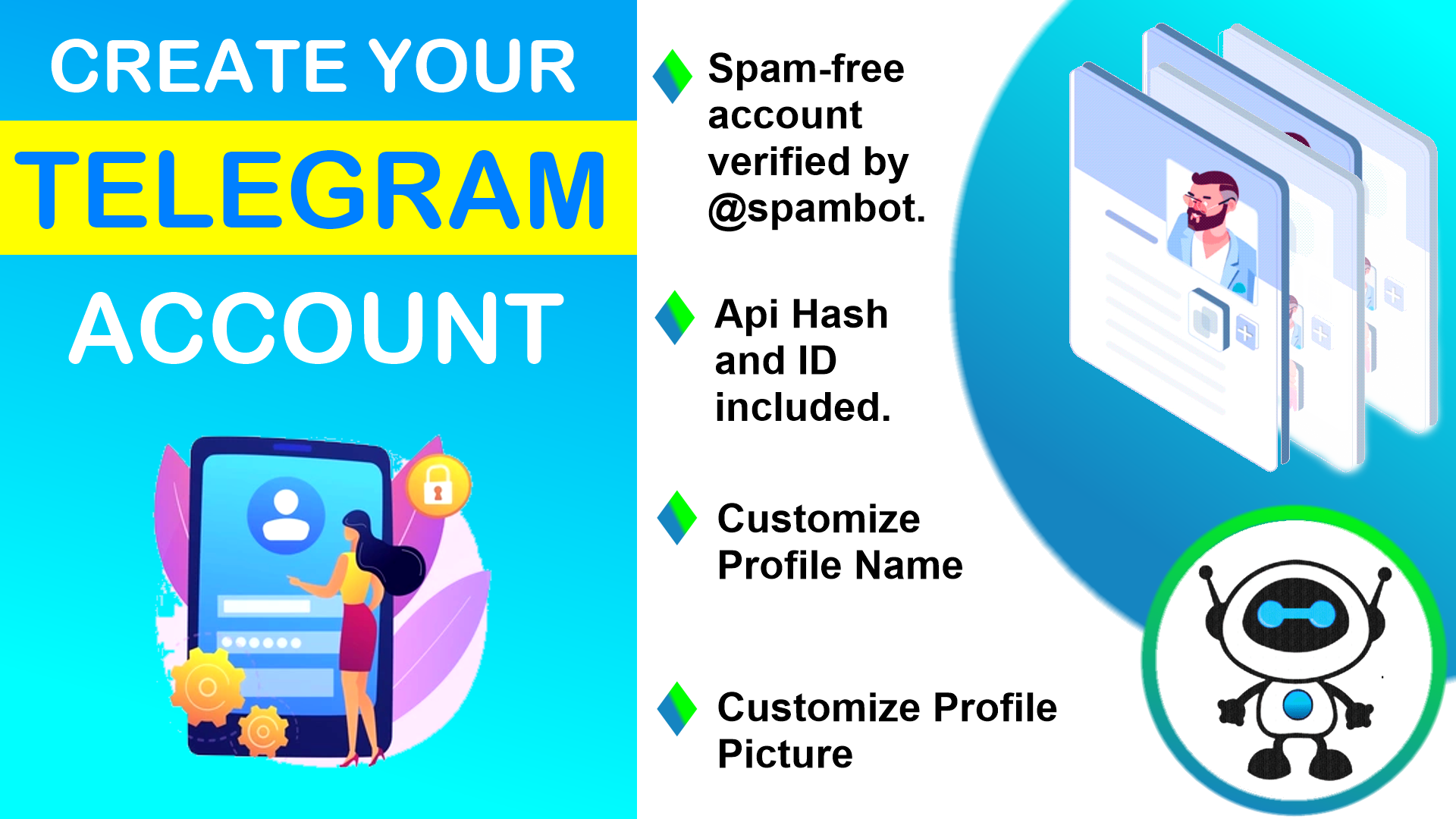 10 Telegram Numbers with API Hash and Id