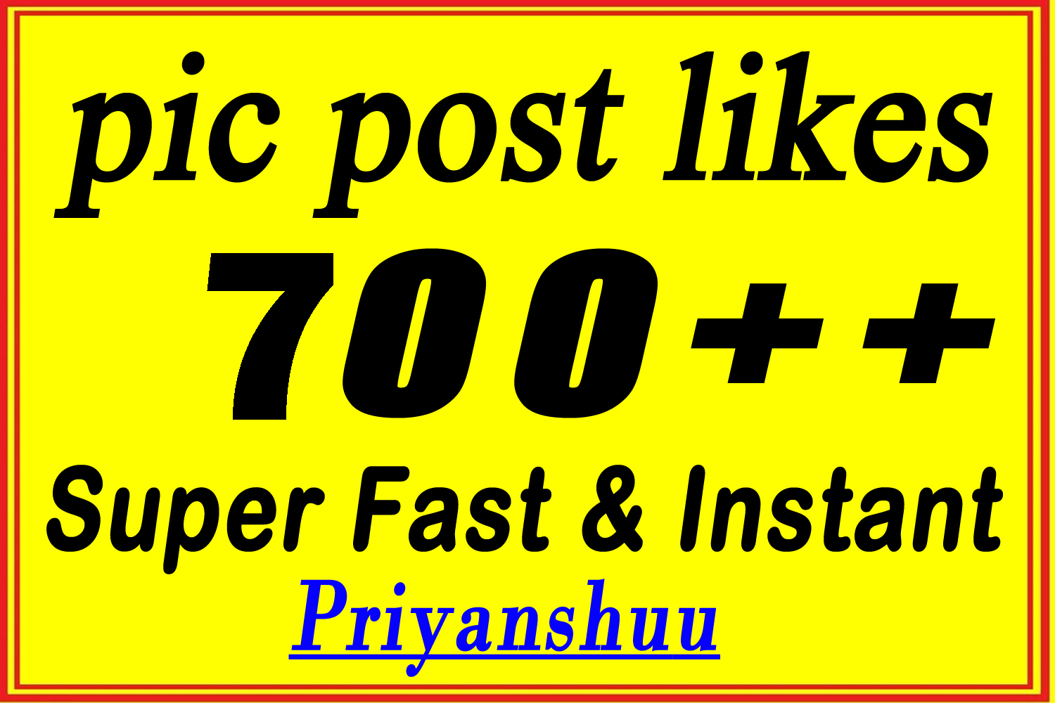 Instant 700 organic Social Pictures Post Promotion in 2 Hours