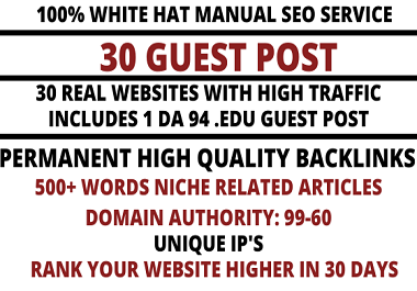 write and publish 30 high quality guest post on websites high domain authority 99-63