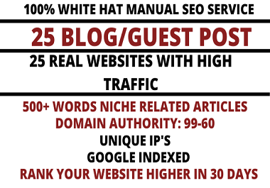 I will write and publish 25 high quality guest post on websites with high domain authority 99-63