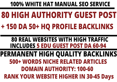 I will write and publish 80 high quality guest post include 5 EDU Posts with high DA 100-60 websites