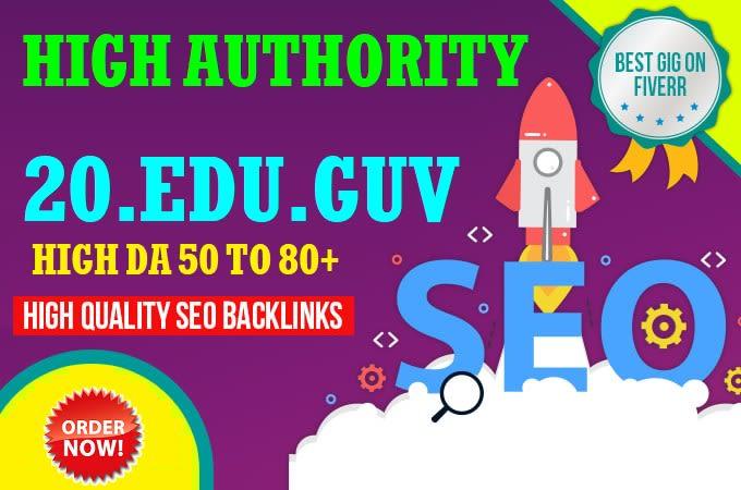 Get 20. Edu. Gov UNIQUE Domains Safe SEO Backlinks For boost 1st ranking