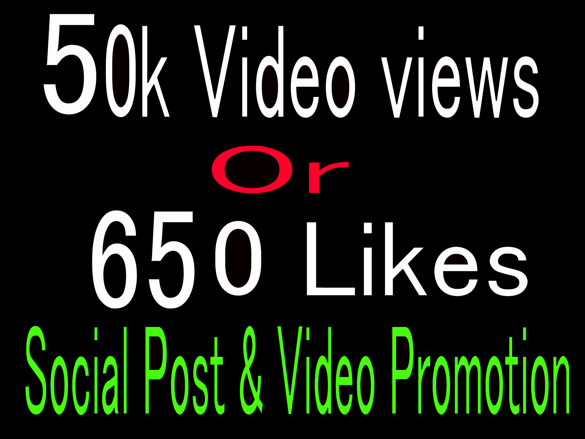Instantly High Quality 50k video views or 650+ Likes promotion, Social media Marketing
