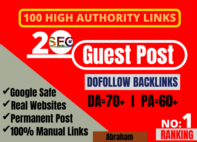 I will provide you 20 guest post backlinks from high DA sites
