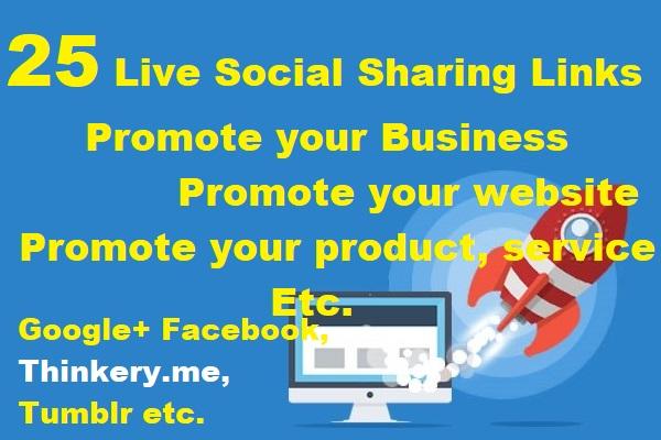 Instant 25 Live Social Bookmarking Links