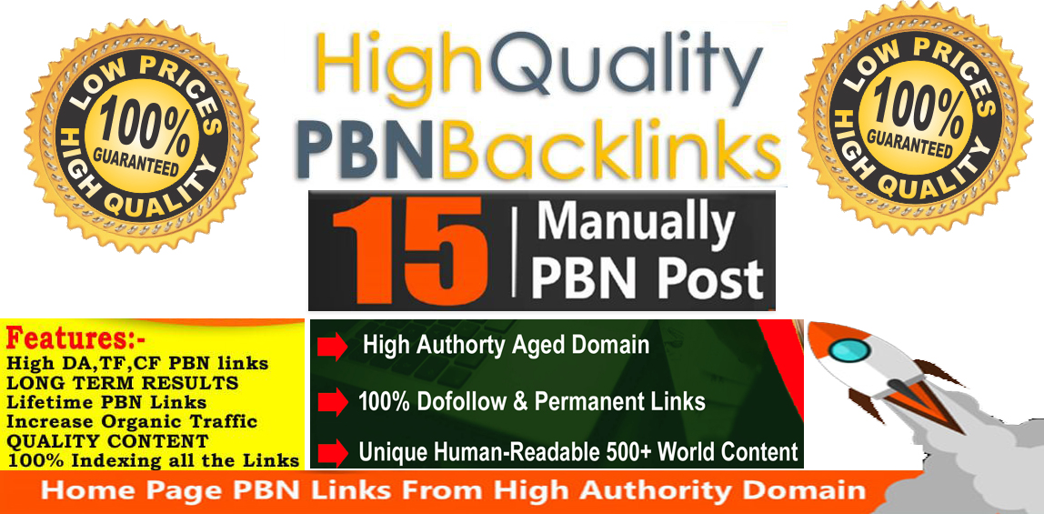 Build 15 High Quality PBN Homepage Permanent Backlinks And Boost Your Ranking