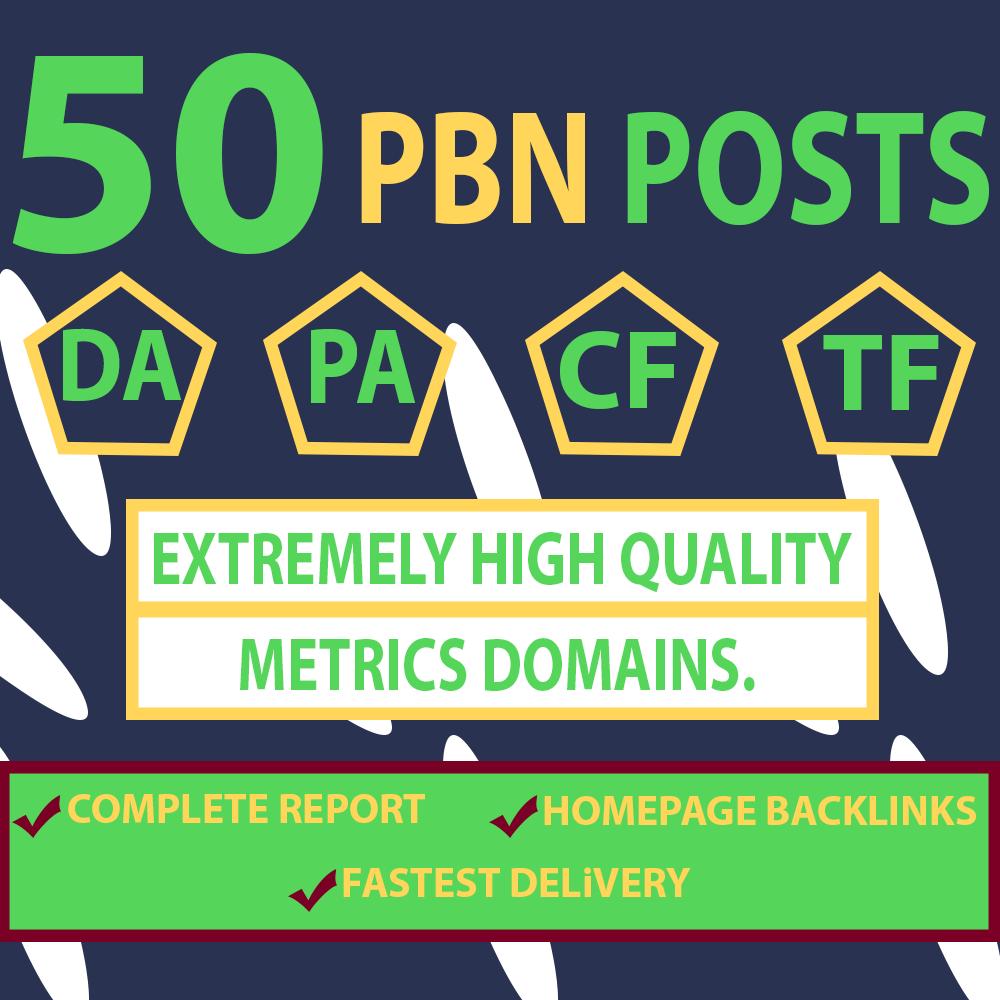Providing Dofollow Manually 50 Homepage PBN Links DA 25+ HIGH TF