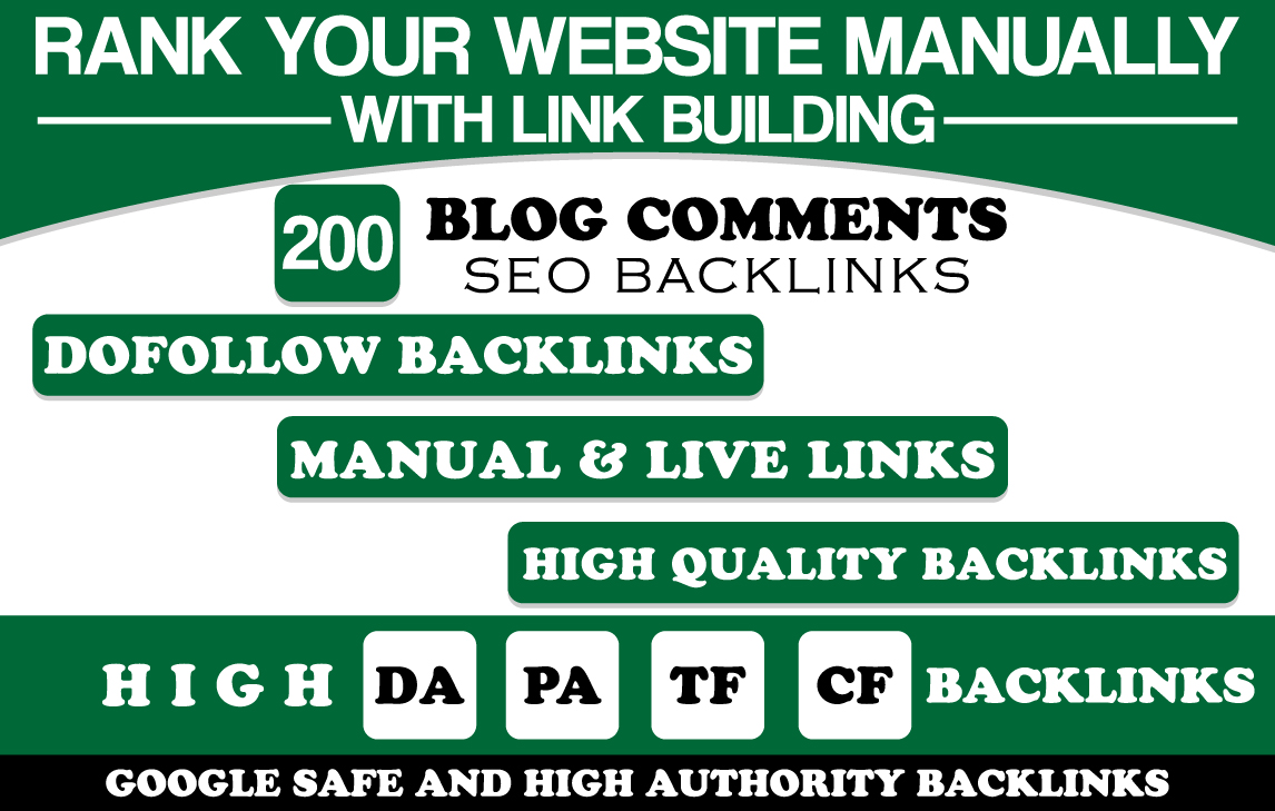 Manually 200 Blog Comment SEO Backlinks High DA PA
