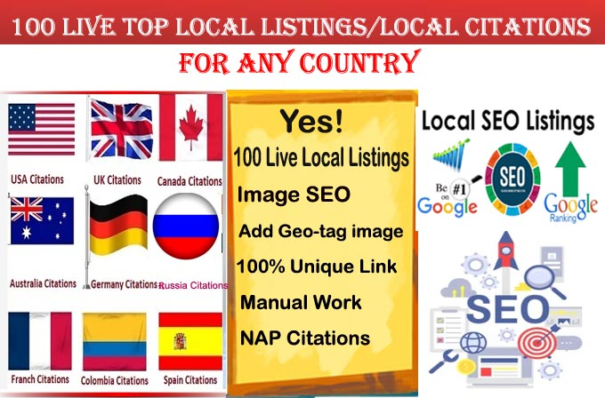 I will do 100 local listings for any country use Geotag image