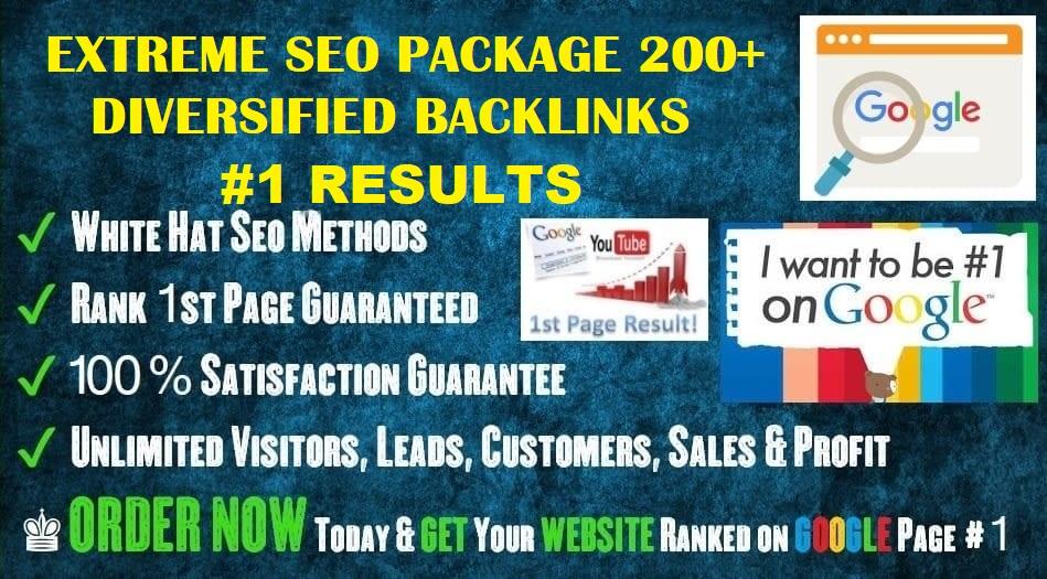 Extreme Seo Package 200+Huge Diversity Backlink From Different Platform Google 1 Ranking